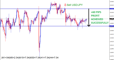 USD/JPY SELL ORDER achieved 60 pips profit