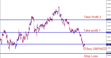 GBPNZD buy forex signal at the support level in 1 hour chart expecting retracement