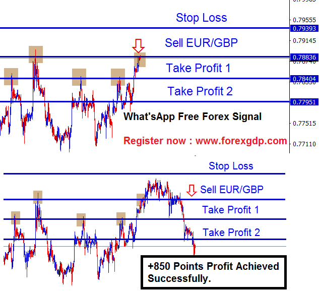 Sell EURGBP at the double top chart pattern