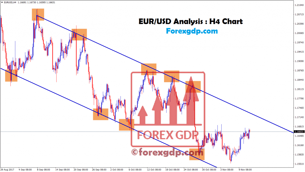 EUR USD trading signal in downtrend channel range