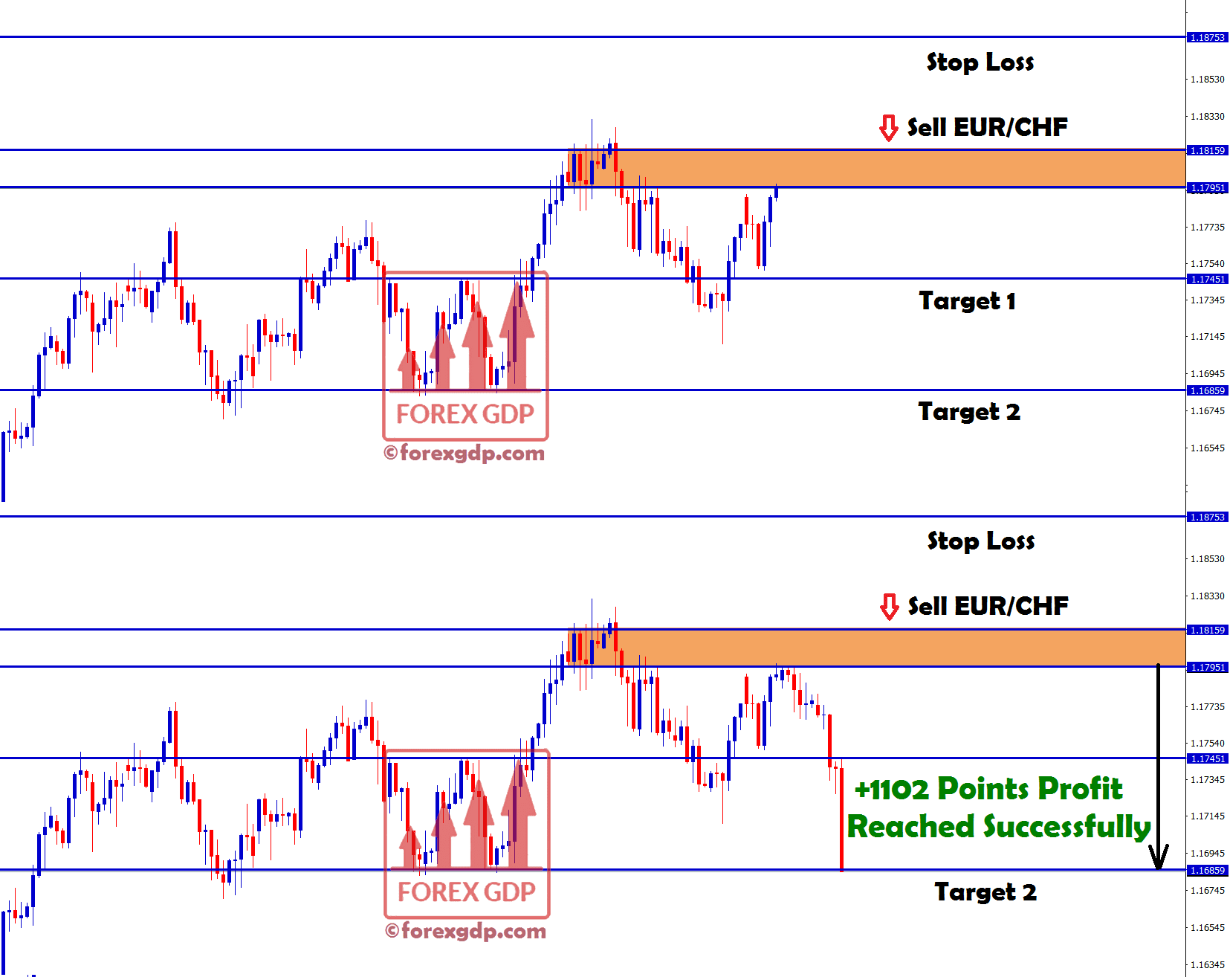 +1102 points profit made in eur chf sell signal