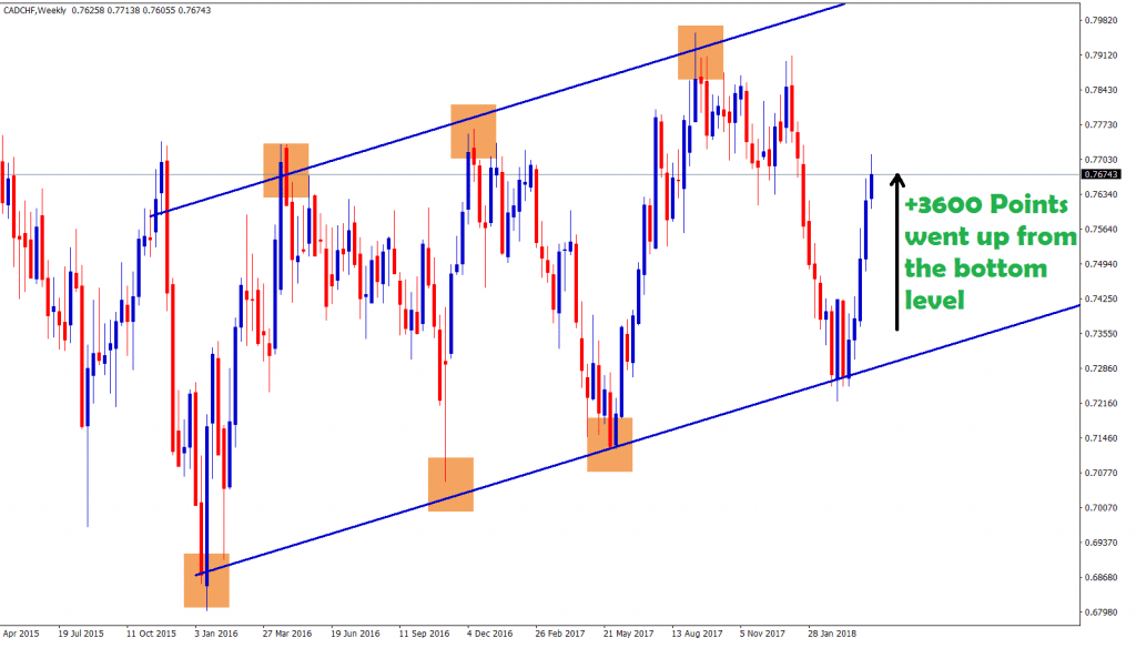 cad chf starts to move up after hits the bottom level