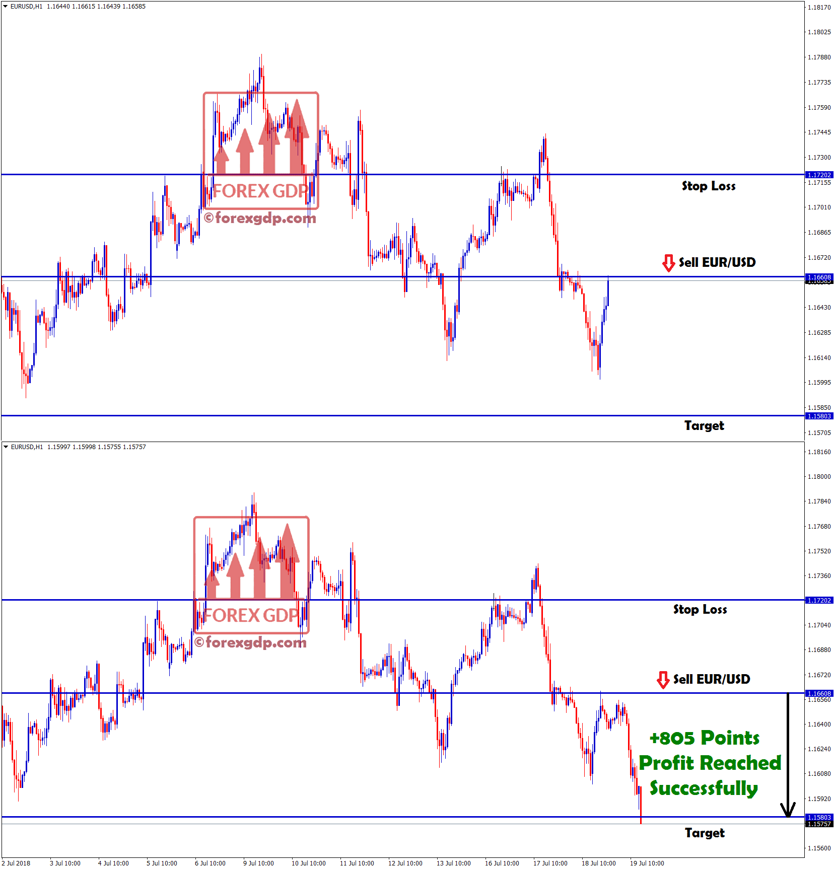+805 points profit hits in eur usd sell
