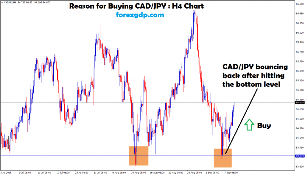 cad jpy bounce back after hits the bottom zone
