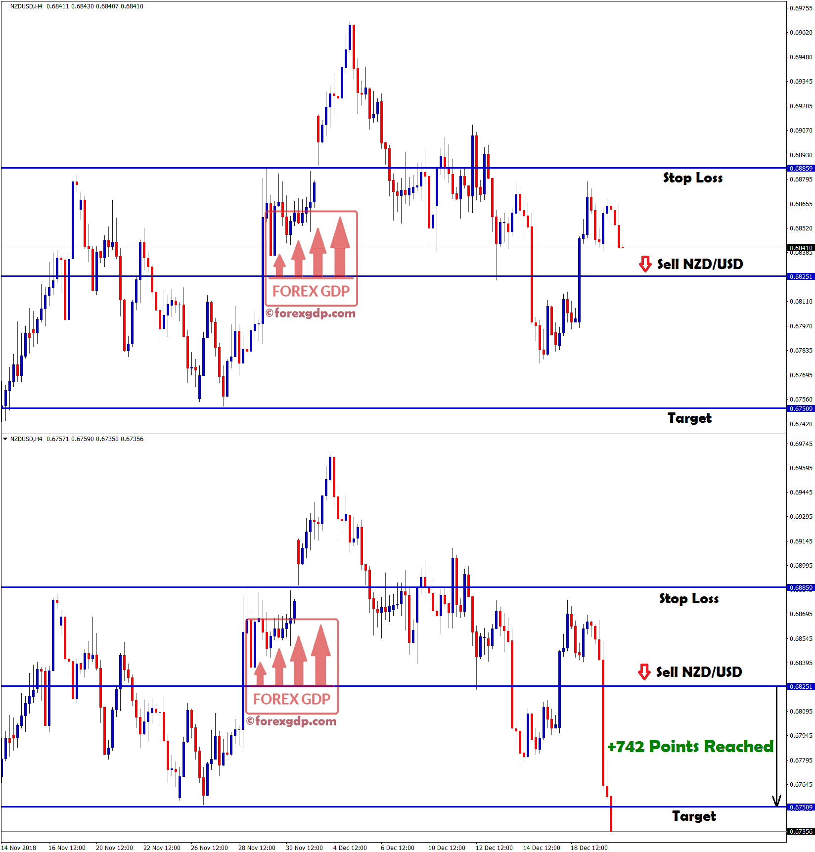 nzd usd reached target with 742 points profit