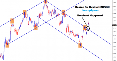 breakout happened at the top of downtrend in nzd usd