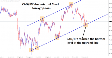 cad jpy reached the bottom level of the uptrend