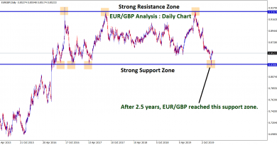 eur gbp reached the support zone