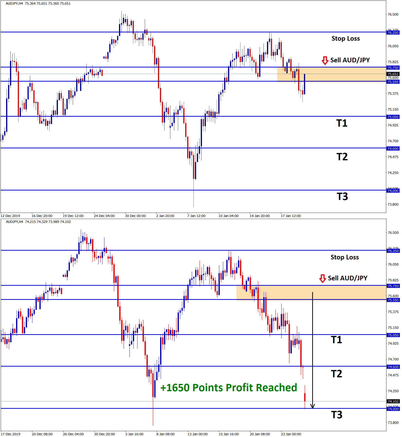 aud jpy touched our take profit in sell signal