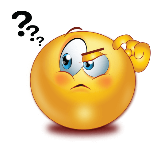 Thinking emoji face with question ask
