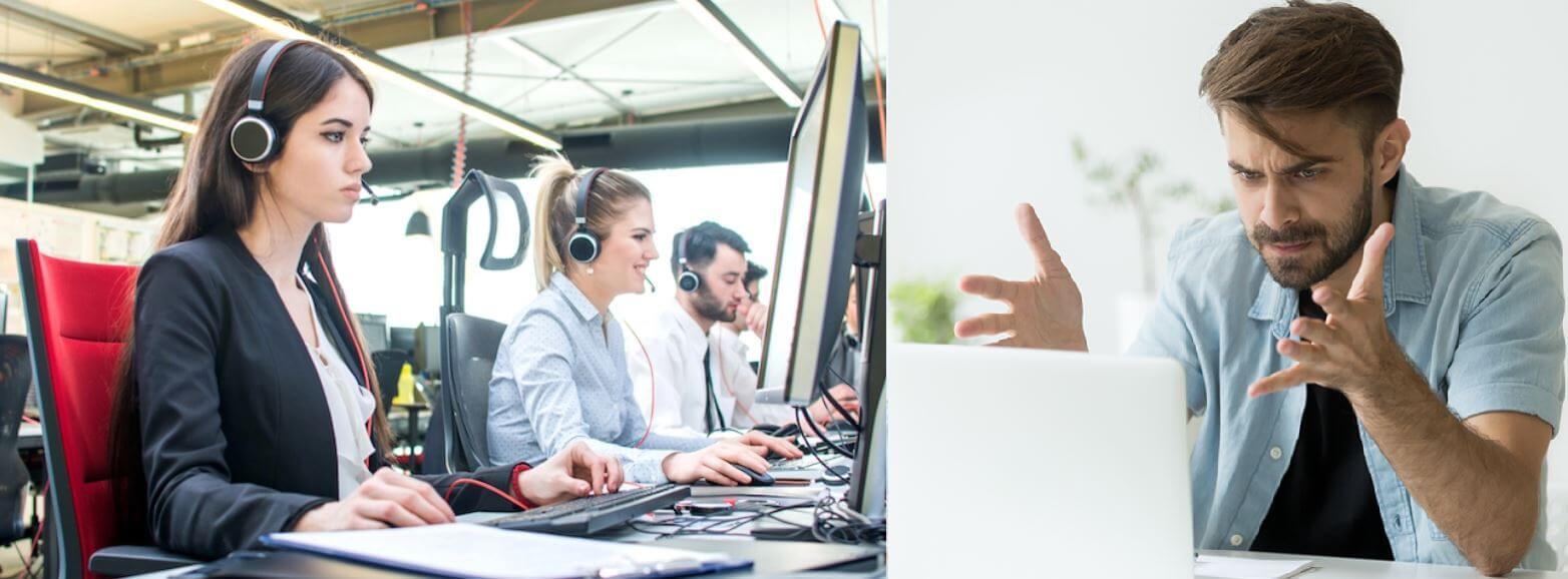 Forex broker customer support talking with loss trader