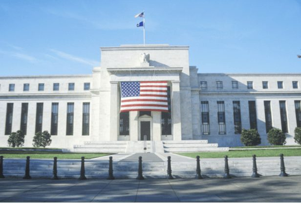 Federal reserve FED building with US flag