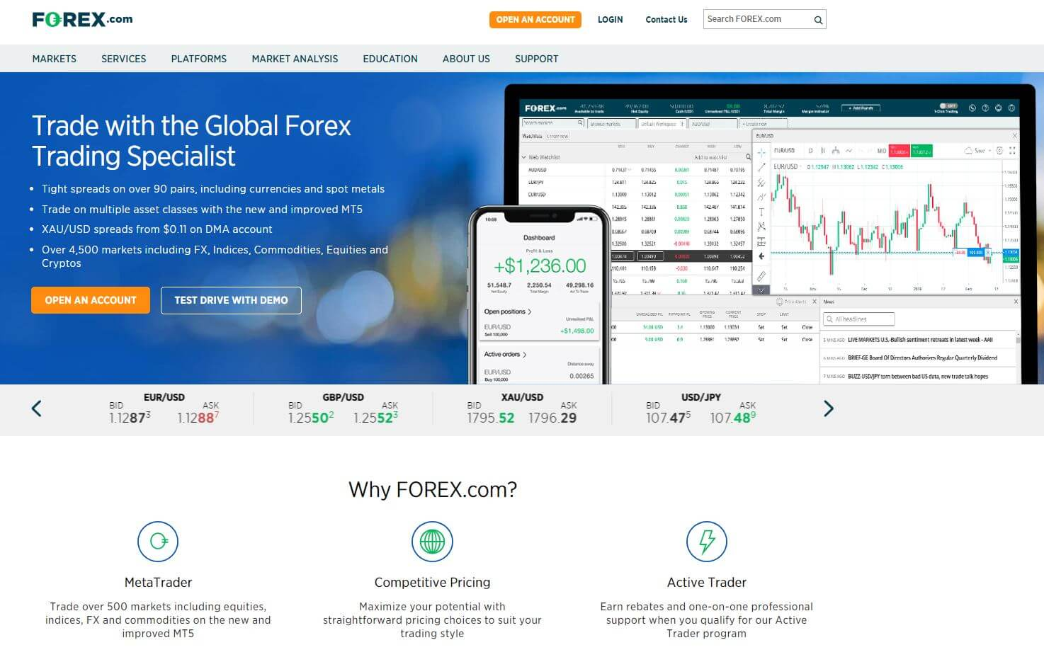 forex.com broker review homepage