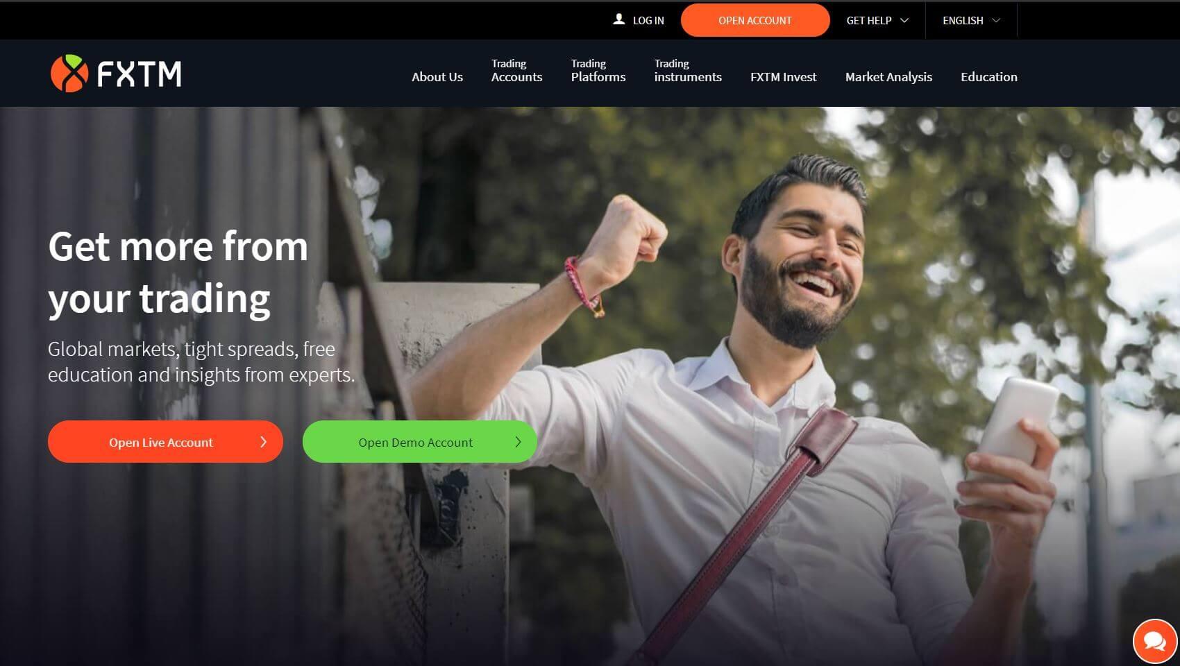 fxtm broker review homepage