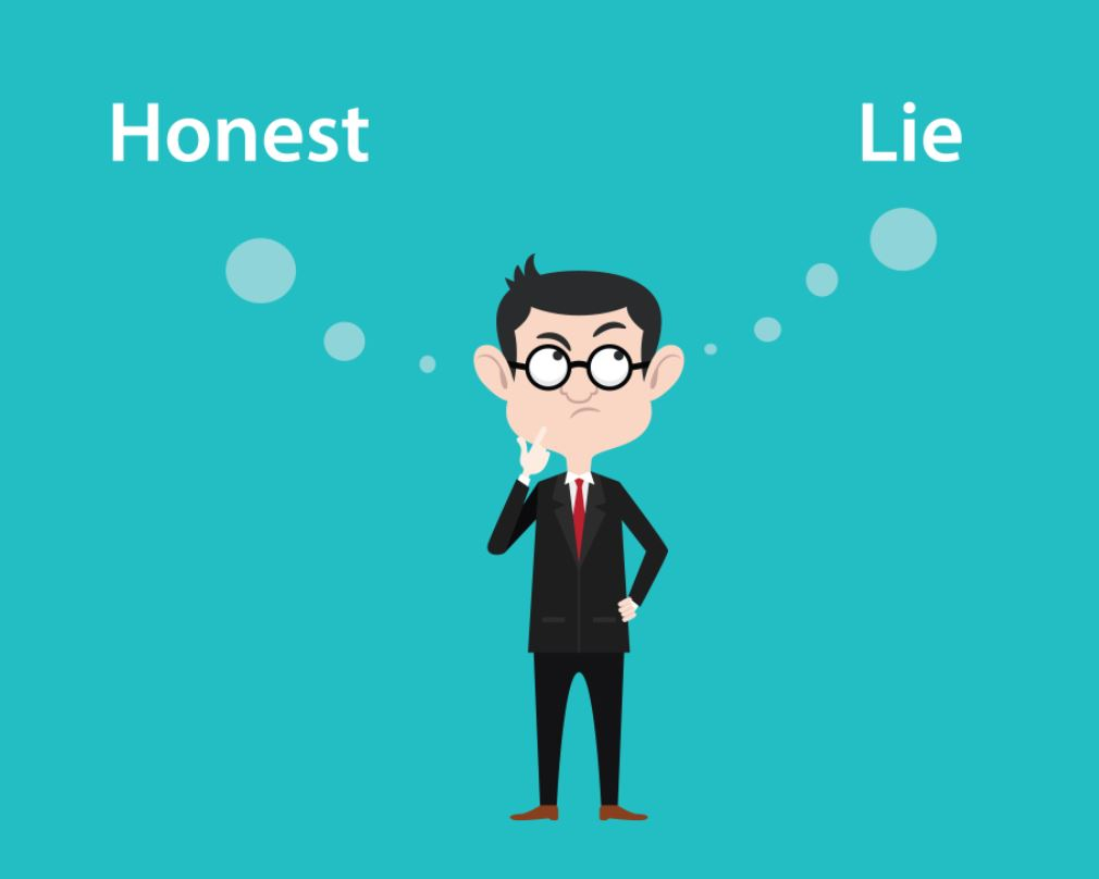 honest or lie face reaction of the man