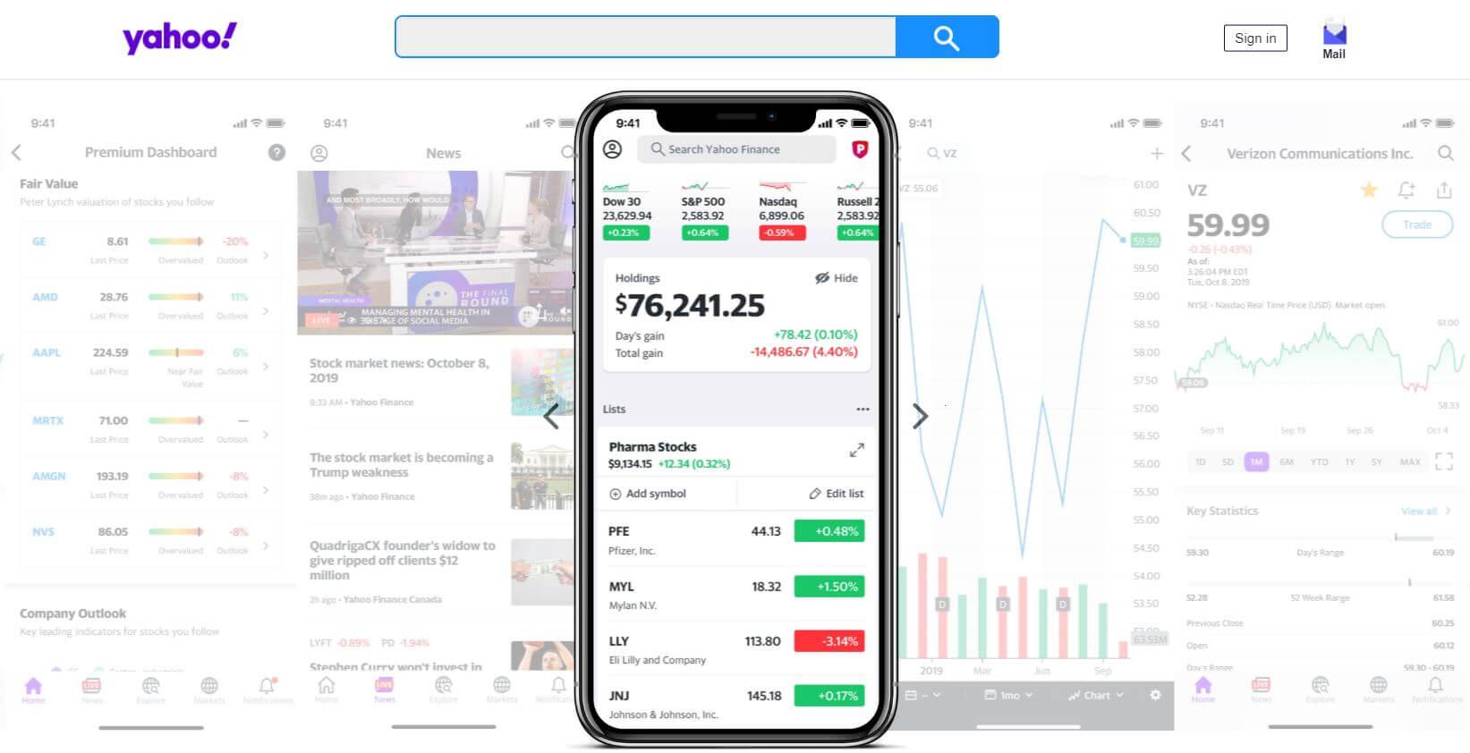 yahoo finance mobile app