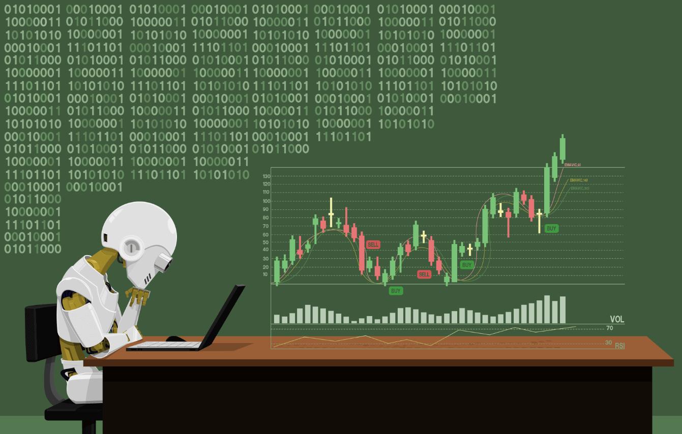 Robot analyzing the forex market
