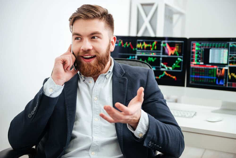 Successful trader overcome his emotions and speaking on phone