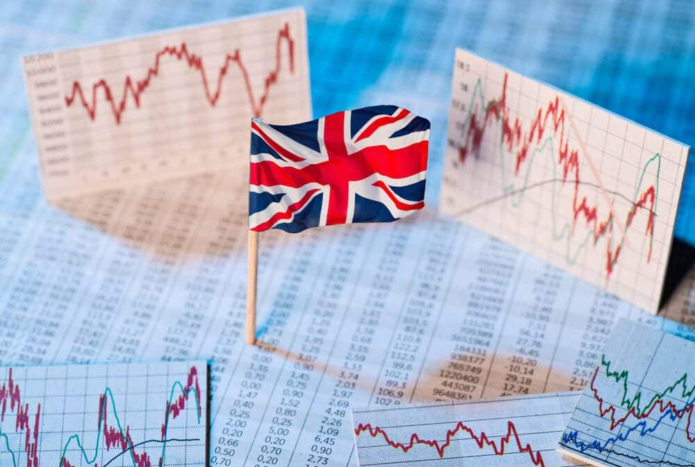 Britain currency gbp with economic charts