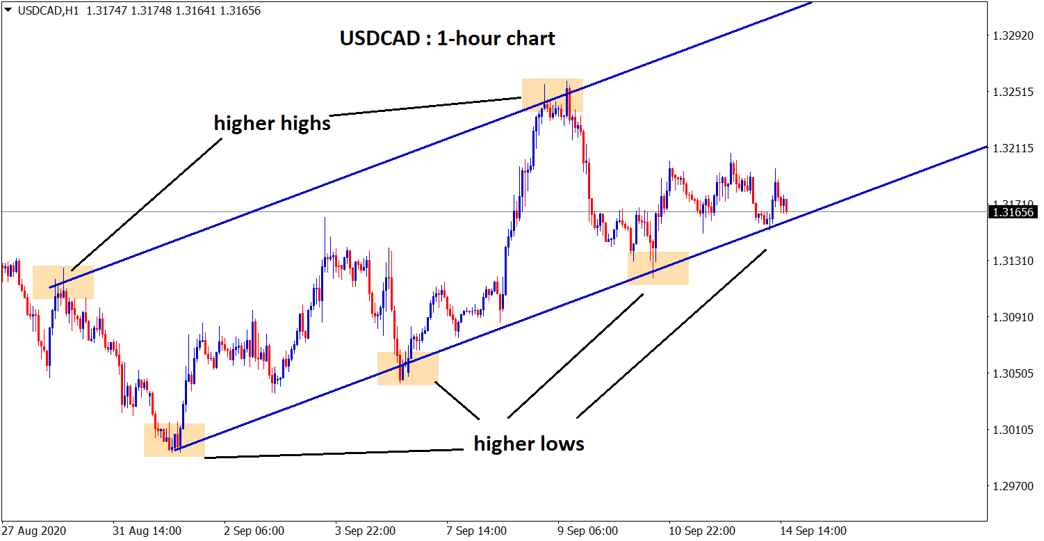 USDCAD HIGHER LOW reach