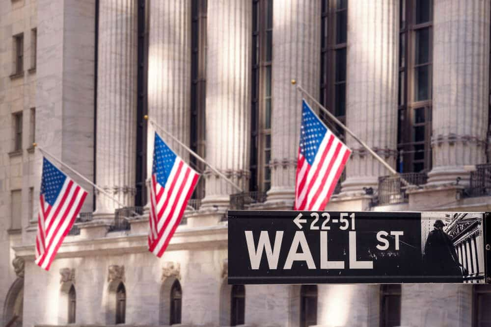 Wall street market with US Flag