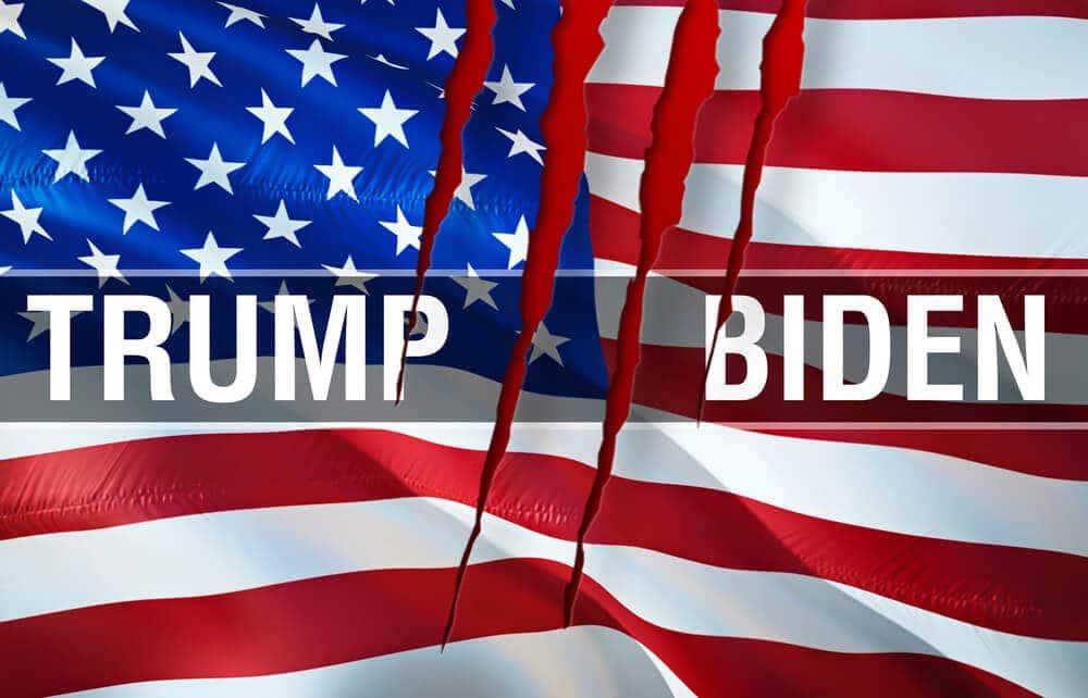 Trump Vs Biden 2020 Election with U.S Flag