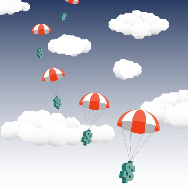 US Dollar falling from the Sky in Parachute