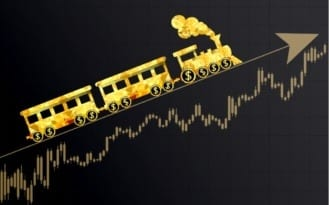 Uptrend Market chart with gold train