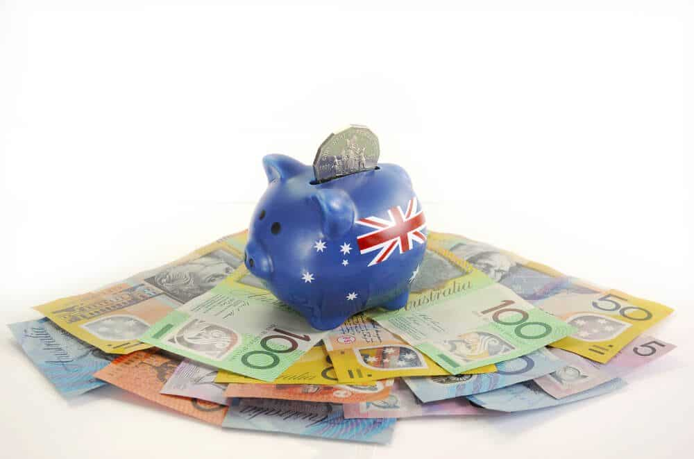 Australian Currency AUD in a Piggy bank