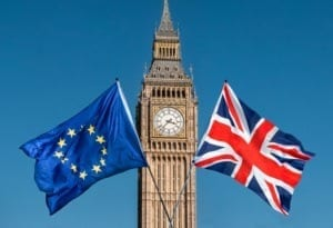 Europe and Britain Flag in front of Big ben