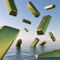 Gold price falls into the water