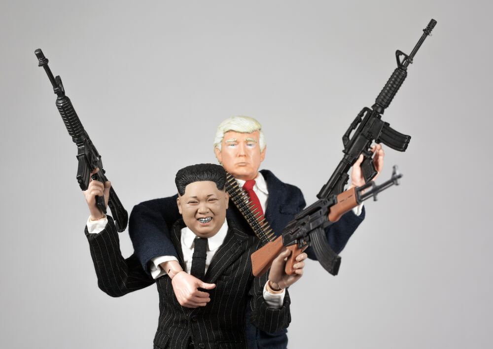 Trump and Kim Jong un with guns toys