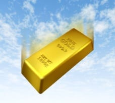 gold bar falling from the sky