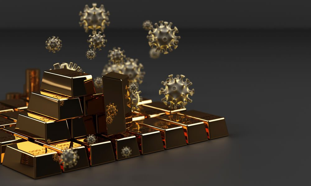 Gold bars with coronavirus infection