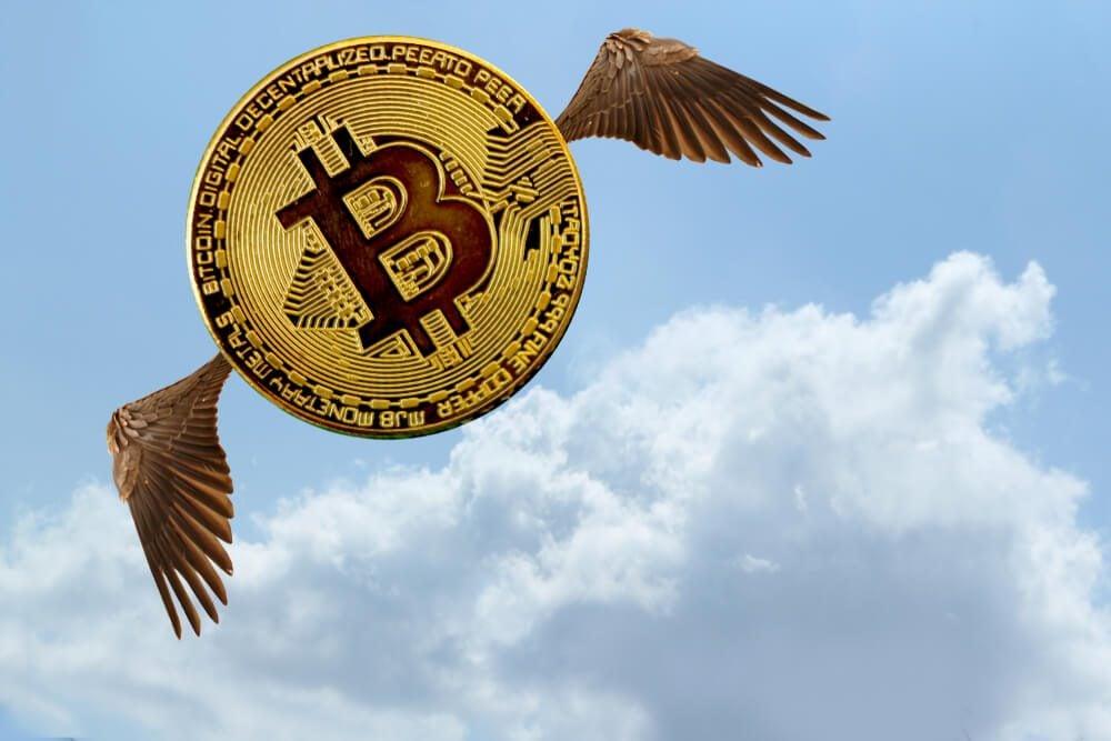 bitcoin fly high above the sky