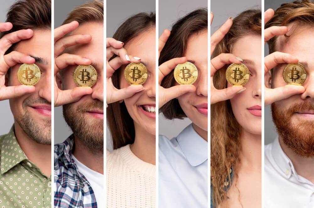 bitcoin gold eye view of different people