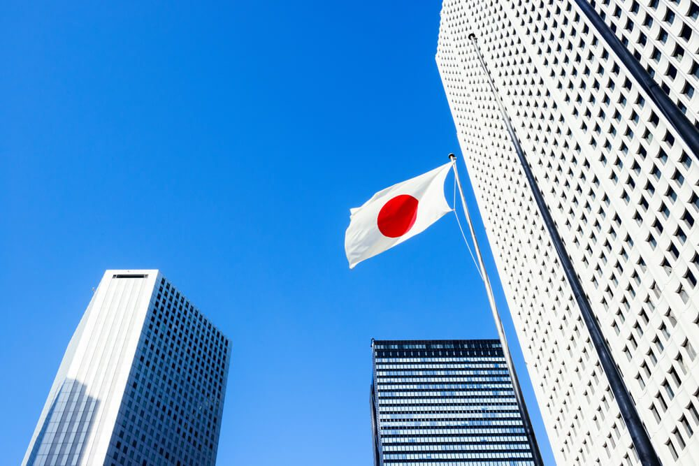 Japan flag with building