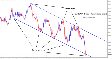 eurcad at the lower low zone in 1hr