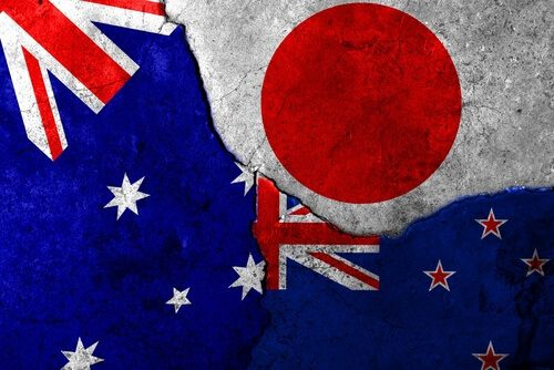 Aussie Kiwi and Yen currency flags