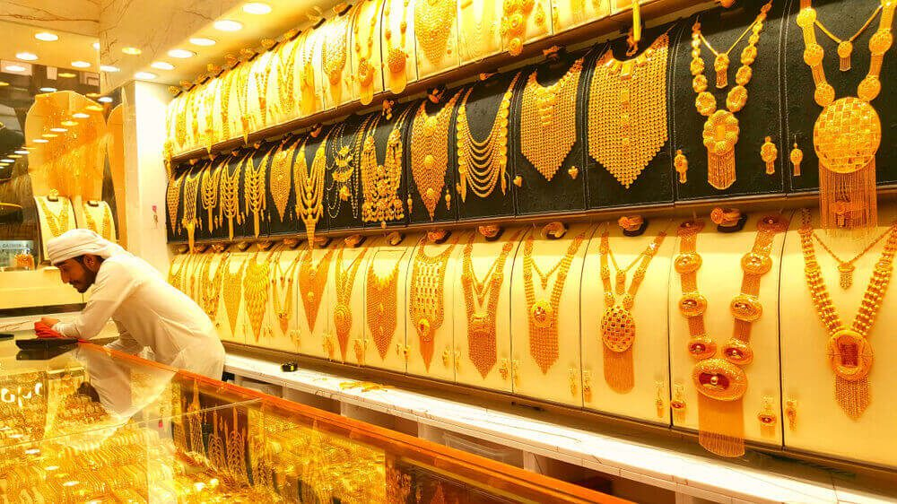 Gold shop with list of jewels