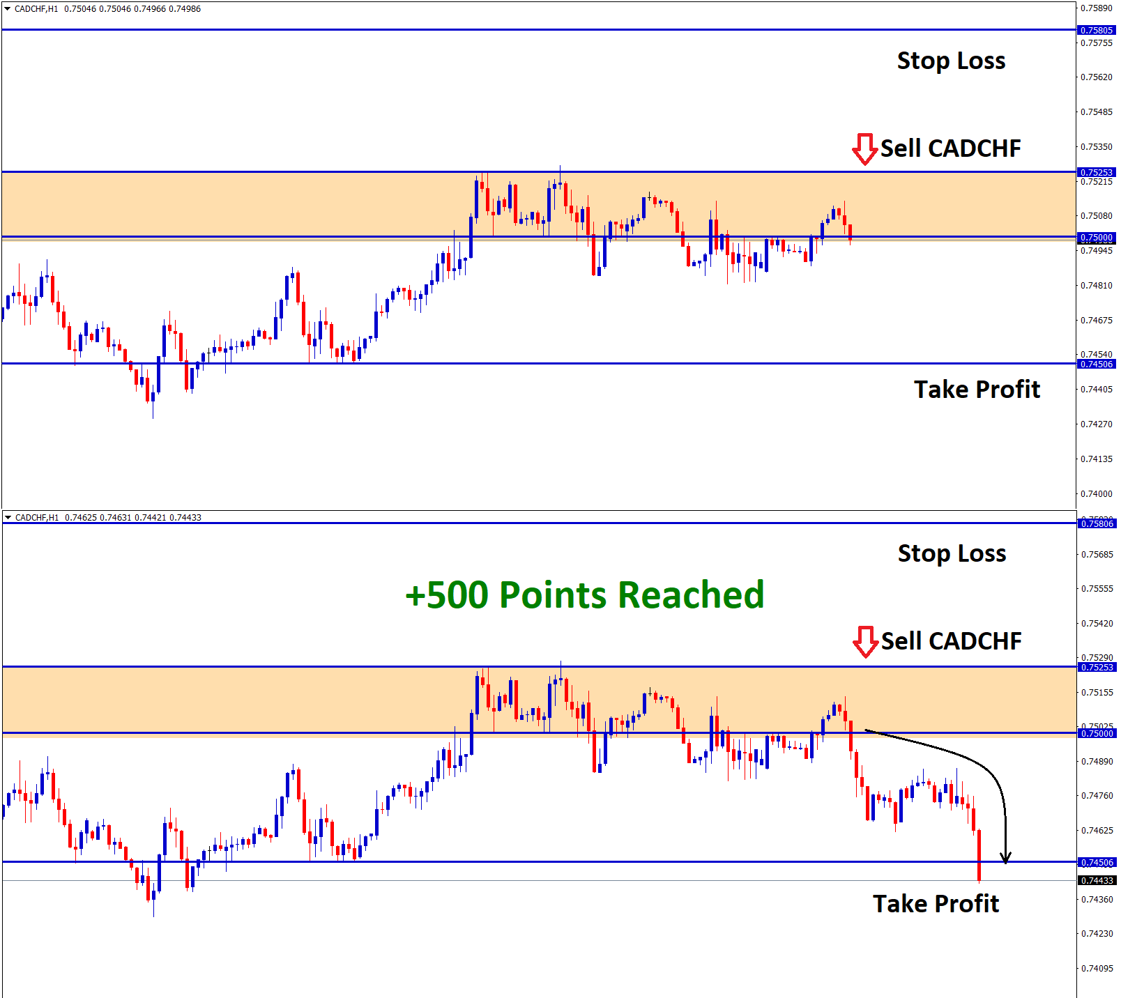 cadchf result 500 points reached in sell signal