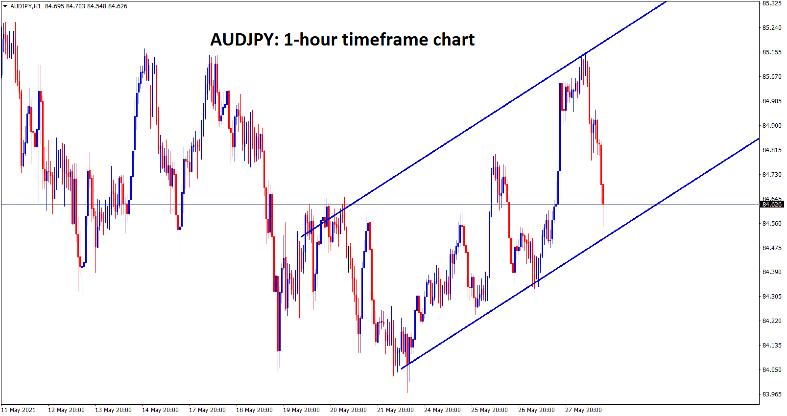 AUDJPY is moving in an Uptrend channel range in 1 hour chart