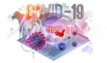 China pathogen virus collage background with coronavirus covid 19