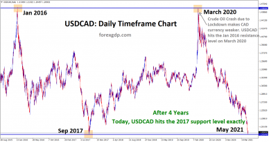 USDCAD hits the 2017 support level exactly in the daily chart