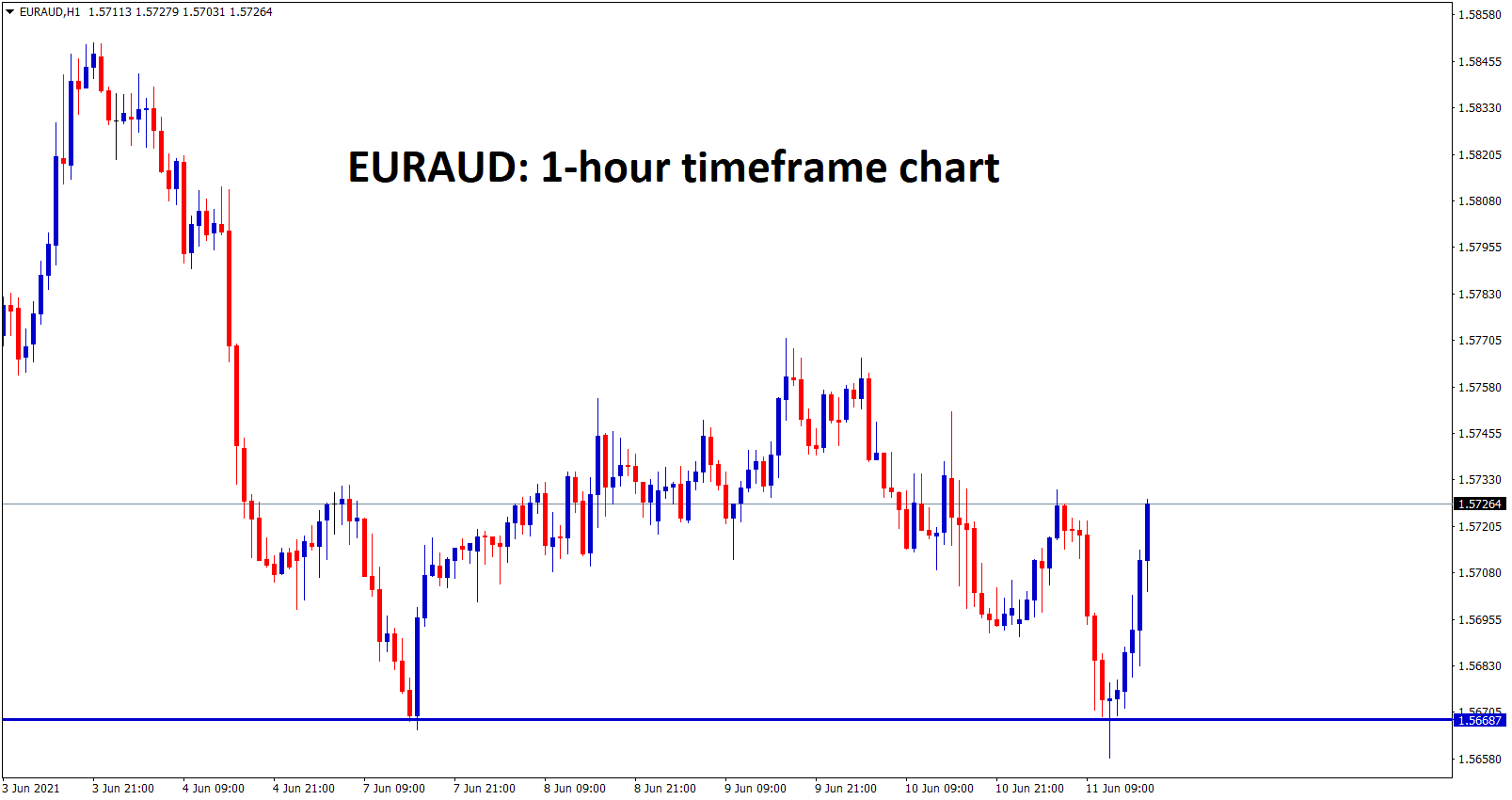 EURAUD formed a double bottom in the 1 hour timeframe chart