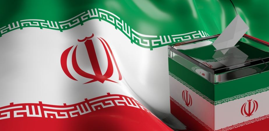 Elections in Iran. Ballot voting box on Iran flag background