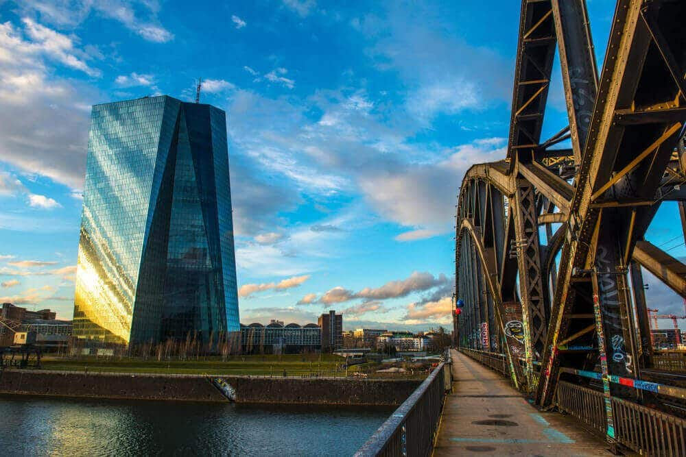 ECB Deutschherrn bridge.ECB European Central BankFrankfurt