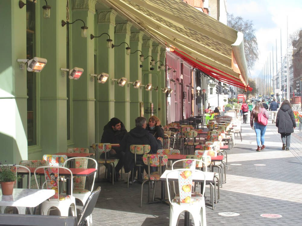 UK London cafe and resturants open up for outdoor trade after lockdown.