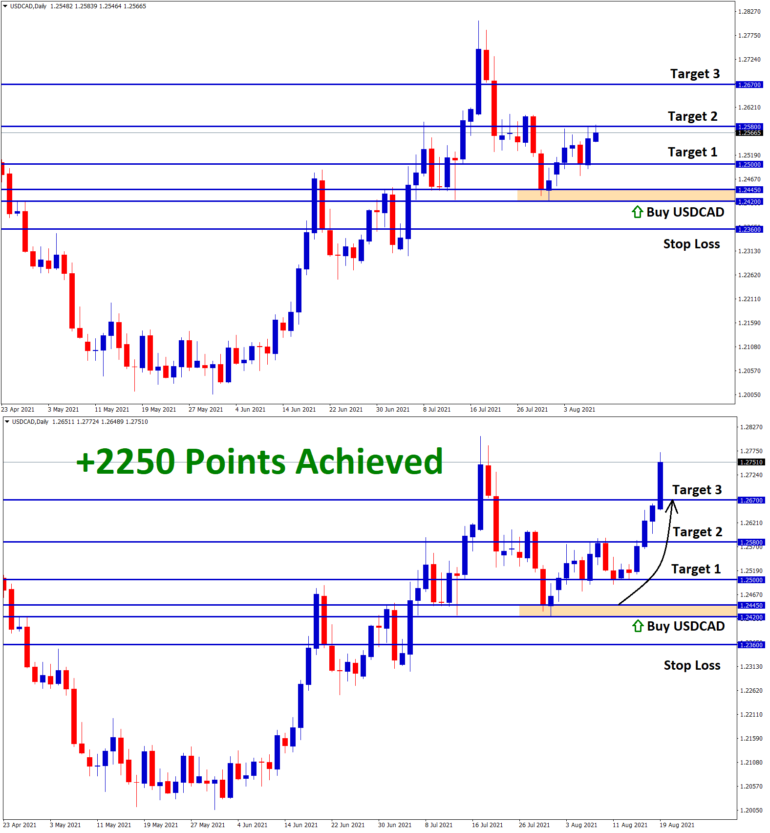 2250 Points achieved in USDCAD Jul30 T3 Aug19