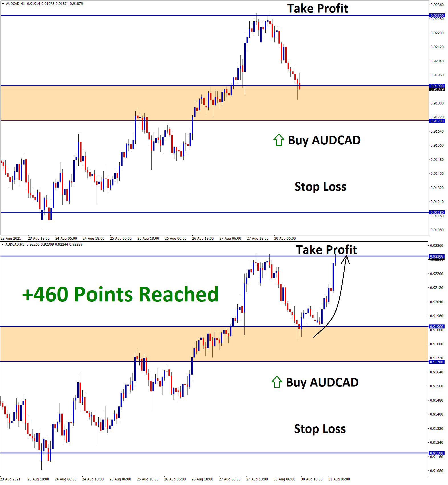 460 points in AUDCAD Aug30 T1 Aug31